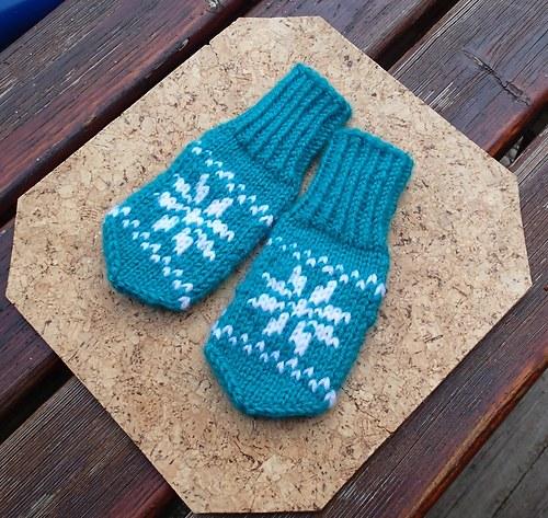 Dětské rukavice -  tyrkysové s bílou vločkou