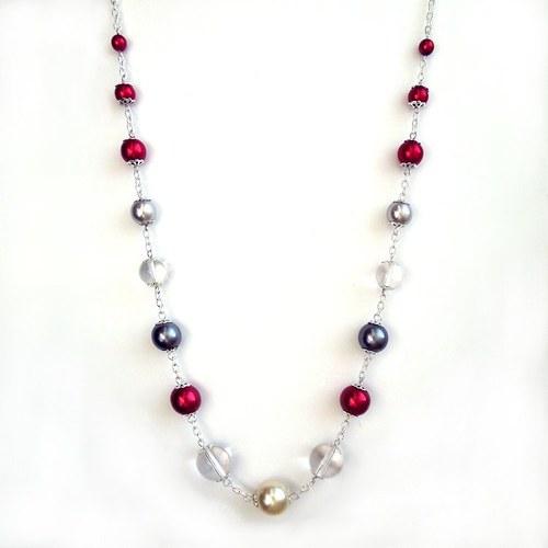 Náhrdelník s perlami a skleněnkami