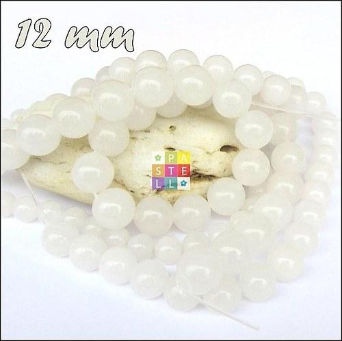 (2588) Biely nefrit, 12 mm - 1 ks