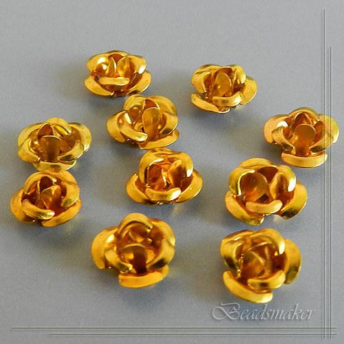 Růžičky kovové - 10 ks