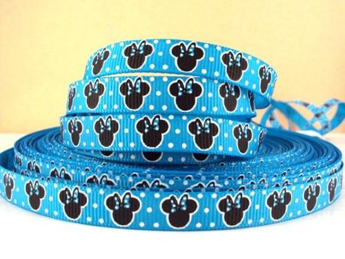 Stuha rypsová š.10 mm: Minnie Mouse- modrá