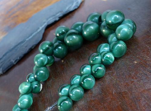 Malachitová pěna...starožitný náhrdelník