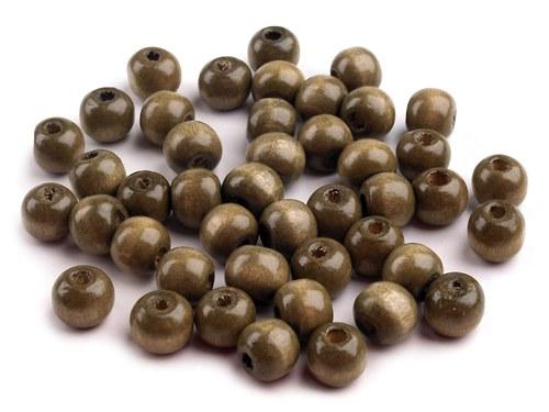 Korálky dřevěné zelenobéžové, 10 mm (30 ks)