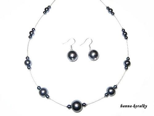 Souprava šedá - náhrdelník + naušnice