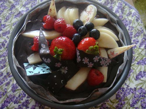 Ovocný hruškovo čokoládový dort