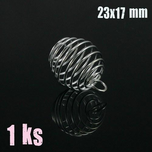 Stříbrná klec na korálek s očkem 20x17 mm 1 ks