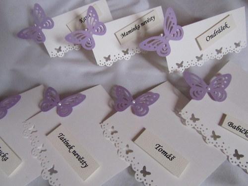 Svatební jmenovky na přání - champagne lila