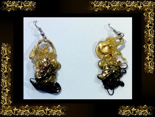 Náušnice černo-zlaté