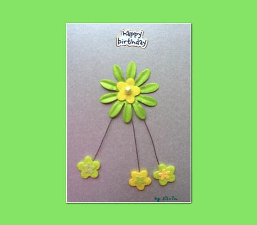 narozeninové přání s kytičkou, stříbrné