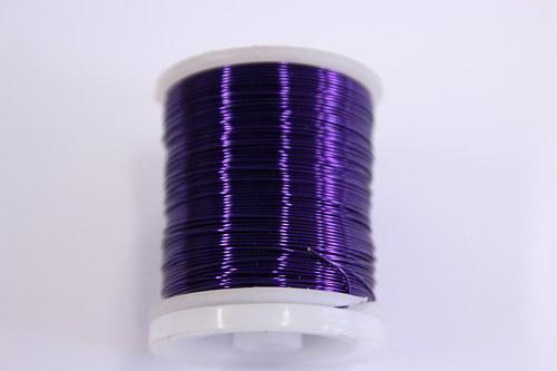 Měděný drátek 0,5mm - purpurový, návin 19-21m