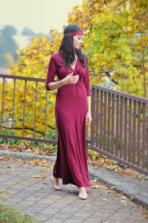 Dlouhé šaty Anett Bohyně - bordó