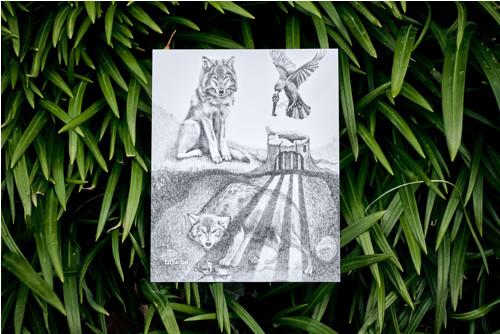 Uvězněný vlk • pohlednice bílá lesklá