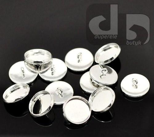 Stříbrný knoflík s lůžkem 20 ks/14 mm