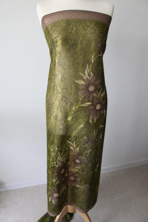 Hedvábný šifon - se zlatým leskem a šedými květy