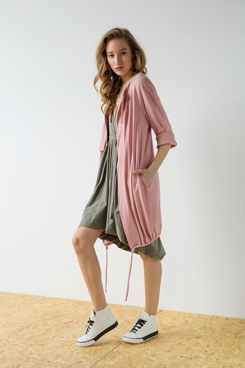 Růžový kabát Long twine
