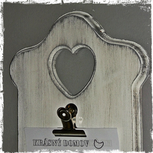 Tabulka na vzkazy s klipem malá - bílá patina