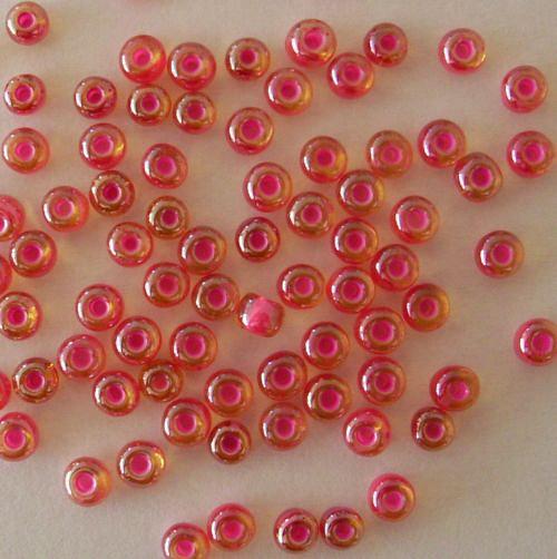 Skleněné korálky - rokajl 4/0 růžový průtah