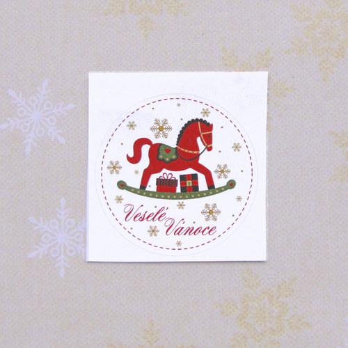 Štítek Veselé Vánoce s koníkem
