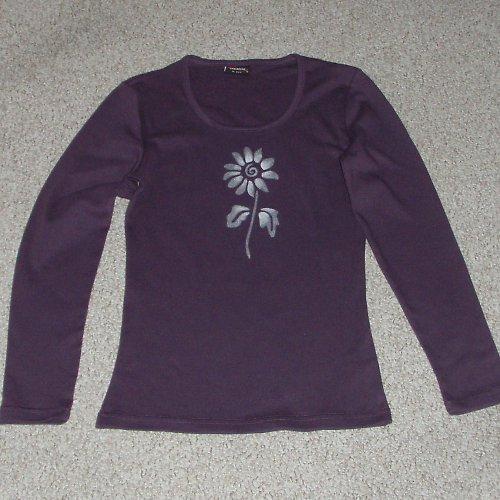 Fialové triko se slunečnicí M - SLEVA z 270,- Kč