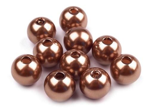Korálky Glance voskované 10mm - hnědá bronz (10ks)