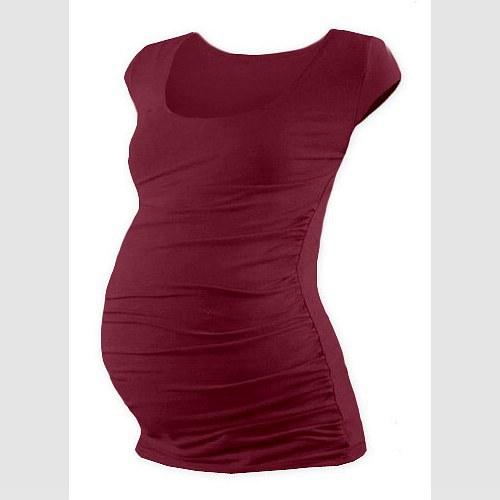 Těhotenské tričko mini rukáv bordó