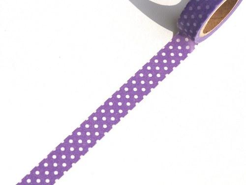 Páska: Bílé puntíky na fialové (1,5 x 33 cm)