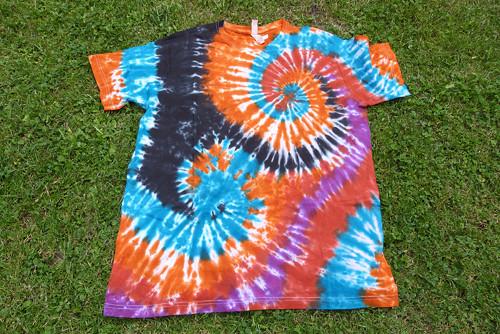 Tričko batikované  XL - Spirála dvojitá