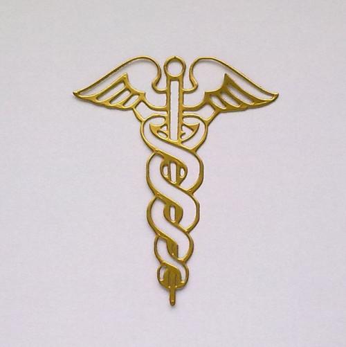Výsek - Lékařský znak / Hermova hůl (zlatá lesklá)