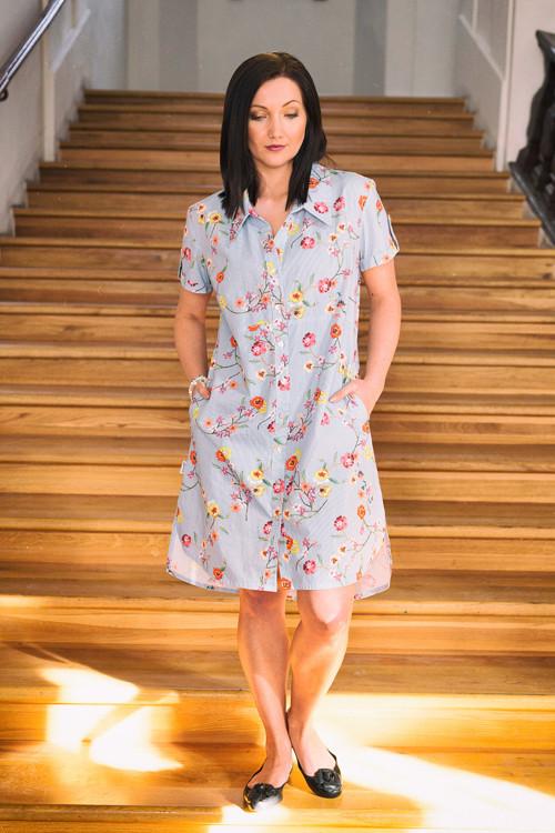 Košilové šaty - pruhy- květy