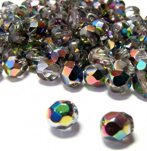 Broušené krystal korálky 7mm 16 ks s AB efektem