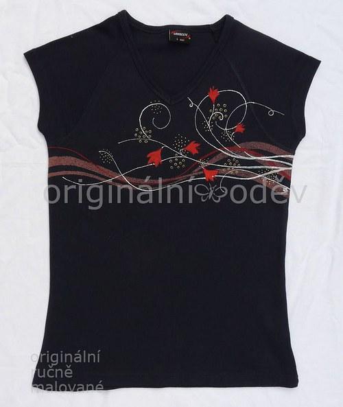 Malované tričko dámské - kvítka - tmavomodré