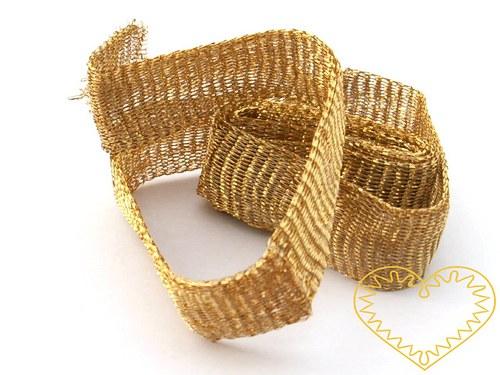 Širší bižuterní drátěný pásek - zlatý tmavší