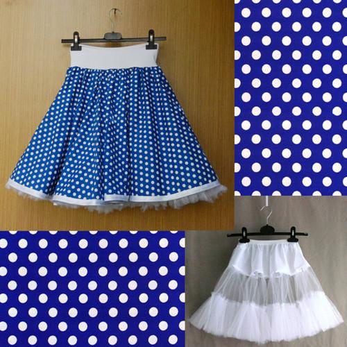 Modrá puntíkovaná sukně+jednoduchá bílá spodnička