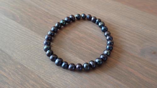 Náramek Půlnoc - černé říční perly