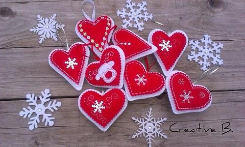 SRDCE červenobílé...vánoční sada 8 ks