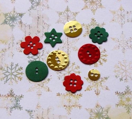 Vánoční knoflíky - 9 ks