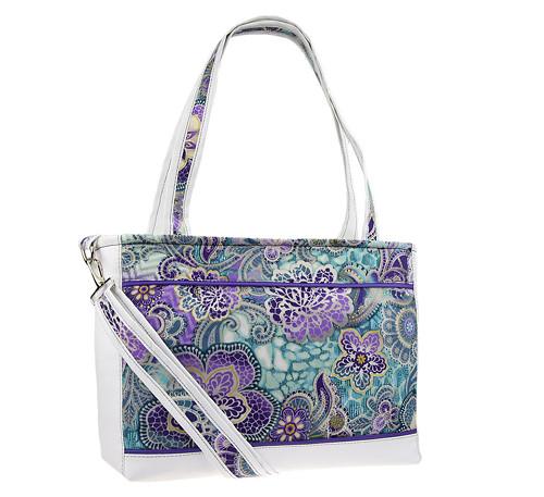 Ručně šitá kabelka - Fialové květy