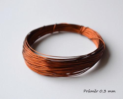 Měděný lakovaný drát pr. 0,3 mm, 5 m