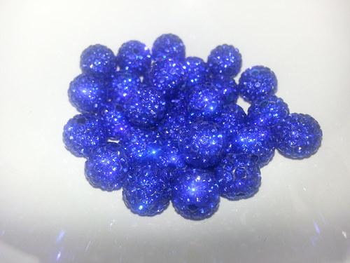Nádherné shamballa korálky královská modř