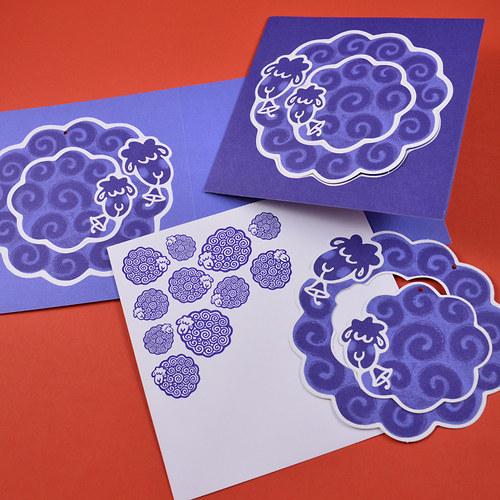 beránkové s ozdobama - 5ks přání + obálky