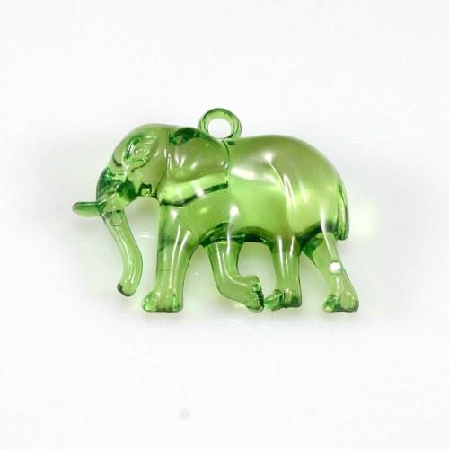 Zelený slon - plastový přívěsek, 32x26 mm