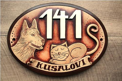 originální keramická jmenovka /kočka a pes/