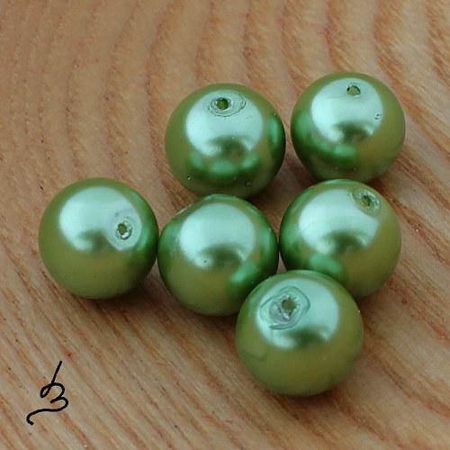 Voskové perle zelené SV 12 mm - 6 ks