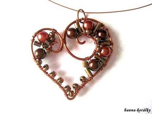 Srdce - srdíčko - náhrdelník + náušnice