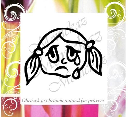 Plačící -smutná holčička. Omyvatelné razítko.