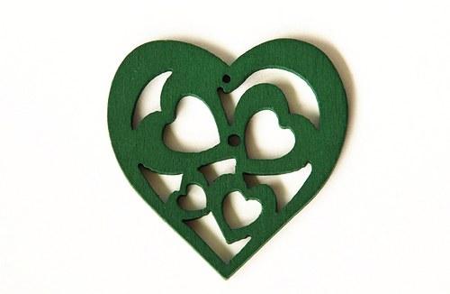 dřevěná srdíčka- tmavě zelená