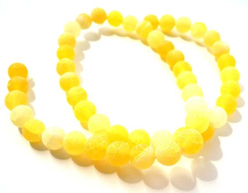 Praskaný achát matný 8 mm/5 ks žlutý
