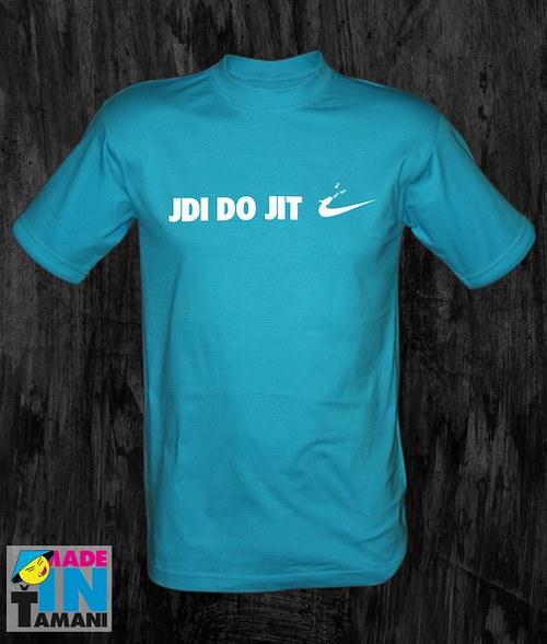 Pánské tyrkysové tričko Jdi dojit 02