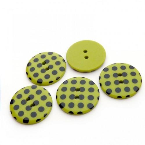 Plastové zelené knoflíky s puntíky 23mm