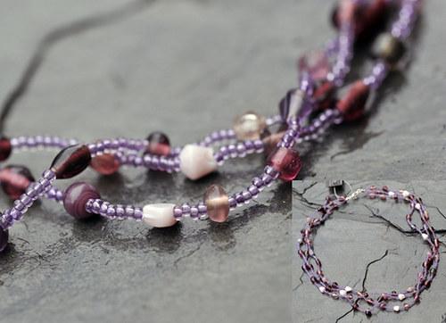 Korálový náhrdelník fialový N0057V